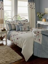 Luxury Duck Egg Blue Embroidered Duvet Quilt Cover Bedding or Curtains or Throw