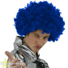 X6 ADULTS BLUE AFRO WIGS 60'S 70'S DISCO HIPPY FANCY DRESS STAG PARTY CLOWN HAIR