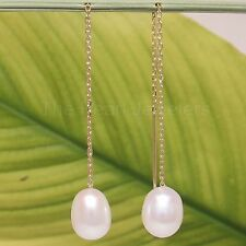 14k yellow Gold Threader Chain; White Raindrop Cultured Pearl Drop Earrings
