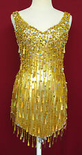 Da NeeNa M005 Tina Turner Showgirl Dance Samba Party Vegas Gold Dress XS-3X