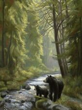 black bears by the stream forest nature wall art LIGHT SWITCH PLATE home decor