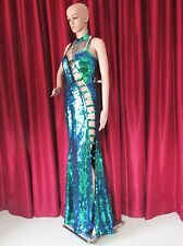 G001 Latin Stage Showgirl Vegas Dance Drag Sequin Sexy Gown S-L