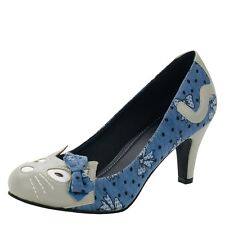 T.U.K. Blue Floral Kitty Cat Face & Tail Anti Pop High Heel Shoes Vegan Friendly
