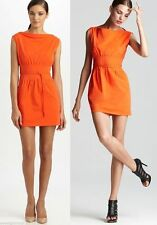 $365 Diane Von Furstenberg DVF Seira Flame Orange Belted New Tech Poplin Dress 8