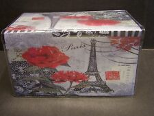 PARIS EIFFEL TOWER RED ROSE  BLACK AND WHITE IMAGE  VINYL CHECKBOOK COVER
