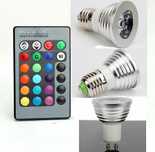 NEW Energy Saving 3W GU10/E27 RGB LED Bulb Lamp light Colors changing+ IR Remote