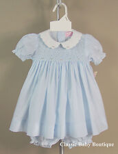 NWT Petit Ami Blue Scalloped Collar Smocked 3 6 9 Months Dress Bloomers Girls