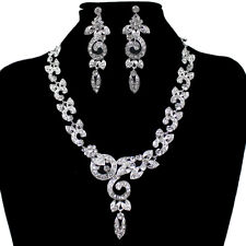 Fancy Wedding Evening Party Crystal Rhinestone Earrings Necklace Jewelry Set