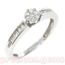 9ct White Gold 0.25ct Diamond Channel Shoulder Cluster Ring