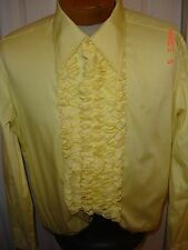 After Six Vintage Yellow ruffled  tuxedo shirt
