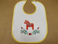 Scandinavian Swedish Dala Horse & Flowers Embroidered Baby Bib