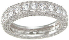 1.5 CT .925 STERLING SILVER ROUND CUT WEDDING ETERNITY RING BAND SZ 5 6 7 8 9