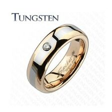 Tungsten Carbide Rose Gold 2 Tone CZ wedding band women's ring comfort fit 6mm