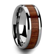 Rosewood Inlay Tungsten Ring Mens Bevel Wedding Band Size 6-13 & half