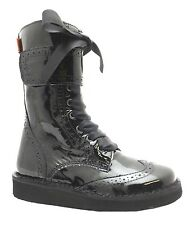 Petasil Clipper 2 Girl's Black Patent Zip Up Leather Mid Calf Brogue Boots New