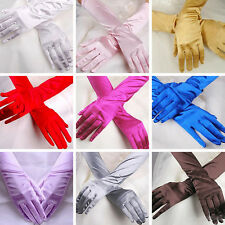 Wedding Satin Stretch Long Gloves Evening Party Prom Opera Halloween Gloves Chic