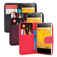 Wallet Flip Pu Leather Case Cover For LG Google Nexus 4 E960 + Free Screen Film