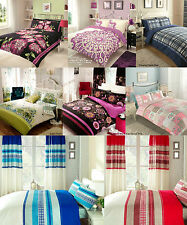 PRINTED VINTAGE RETRO FLORAL BEDDING DUVET QUILT COVER HALF SETS BLUE RED BLACK