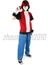 Pokemon Ash Ketchum Red Trainer Costume Cosplay Pokeball Hat Include Customized