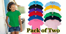 Girls' 2 Pack Fruit of the Loom Valueweight T Shirt, Girls' T-shirt 12 Colours