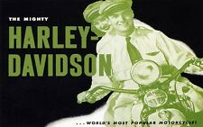 COUPLE HARLEY DAVIDSON THE WORLD'S POPULAR MOTORCYCLE BIKE VINTAGE POSTER REPRO