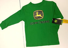 NEW John Deere Logo Green Long Sleeve T-Shirt Boys Sizes 8 10/12 14