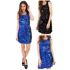Womens Ladies Sleeveless All Over Sequin Embellished Short Shift Party Dresses