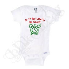IS IT TOO LATE TO BE GOOD Christmas Gerber® Onesie® Baby Shirt Infant T-Shirt