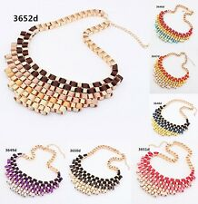 New women Vintage Boho gradient color Choker Bib Statement Necklace Pendant