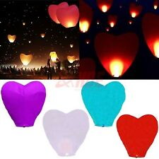 Wishing Heart Shaped Lantern Chinese Paper Sky Floating Wedding Party Lamp Color