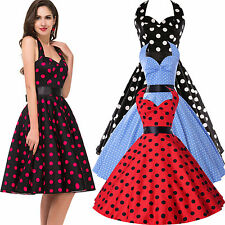 VINTAGE STYLE BRIDESMAID POLKA DOT 50s 60s ROCKABILLY SWING PROM EVENING DRESSES