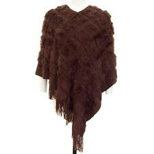 PT11 -Plus Size Fringe Fur Sweater Knit Poncho Brown Black One Size Fit 1X 2X 3X