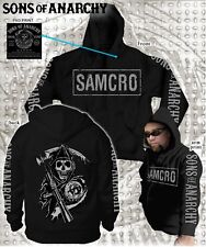 NEW FALL '13 SONS OF ANARCHY SOA 4 PRINT BOXED SAMCRO LOGO REAPER HOODIE S-3XL