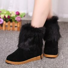 Women's Faux Fur Bow Knot Inner Heel Block Winter Snow Boot Warm Booties Shoes