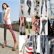 Women Skinny Colorful Print Leggings Stretchy Sexy Jeggings Pencil Tights Pants
