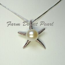 """Genuine White Pearl Pendant Necklace Starfish 18"""" 16"""" Cultured Freshwater"""