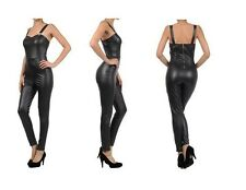 NEW SASSY TRENDY FAUX LEATHER SWEETHEART NECKLINE JUMPSUIT W/ LEATHER SUSPENDER