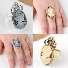 Retro Vintage Gothic Rhinestone Steampunk Victorian Cameo Lady Adjustable Ring