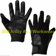 MENS GLOVES FITTED LEATHER / RIB STRETCH SPANDEX FASHION DRIVING GLOVE SMART NEW