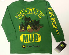NEW Green L/S John Deere There Will Be Mud T-Shirt Boys Sizes 4 5/6 7
