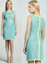 $348 Elie Tahari Holly Sky Eyelet Sleeveless Shift Dress
