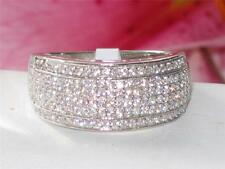 sS012pb STERLING SILVER ROWS OF SIMULATED DIAMOND RING BAND ETERNITY OUTSTANDING
