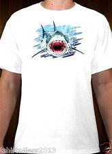 GREAT WHITE SHARK T-SHIRT WHITE SIZES SMALL TO 4XL NEW