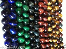 Red Blue Green Mixed Coloured Tiger Eye Gemstone Round Beads