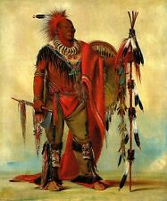 THE WATCHFUL FOX CHIEF OF TRIBE AMERICAN USA INDIAN 1835 BY GEORGE CATLIN REPRO