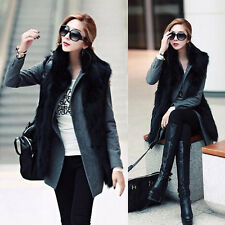 Hot Women Faux Fox Fur Lapel Vest Coat Outwear Long Hair Shaggy Jacket Waistcoat