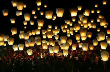 Floating White Paper Chinese Lanterns Sky Fly Candle Lamp for Wish Party Wedding