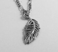 Lead Free FEATHER Pewter Pendant On Silver Plated  Figaro Chain Necklace