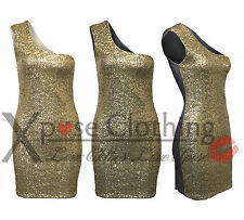 Bodycon Ladies Gold Sequin Off One Shoulder Top Dress Party Sexy Dresses