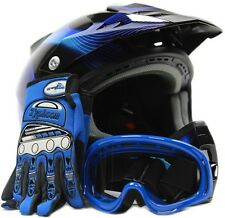 Adult Motocross Helmet with Gloves & Goggles Blue Black Dirtbike Off Road ATV